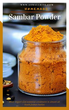 Homemade sambar powder / sambar powder recipe is the most important and essential condiment in almost all South Indian homes. As most of us prepare sambar for atleast once a week, this sambar podi is always in demand. Aloo Recipes, Curry Recipes, Snack Recipes, Andhra Recipes, Cooking Recipes, Sambhar Recipe, Chaat Recipe, South Indian Breakfast Recipes, Indian Food Recipes