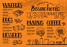 Menu restaurant food template vector image on VectorStock Menu Restaurant, Restaurant Recipes, Food Template, Templates, Caramel Waffles, Eggs Florentine, No Egg Pancakes, Cafe Bistro, Food Menu