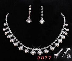 White Chunky Pearl Necklace Earring Set Crystal Rhinestone Bridesmaid Jewelry | eBay