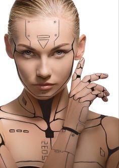 Robot Makeup, Fx Makeup, Cosplay Makeup, Costume Makeup, Human Cyborg, Female Cyborg, Cyberpunk Aesthetic, Arte Cyberpunk, Cyborg Costume