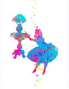 Alice falling down the rabbit hole splatter art