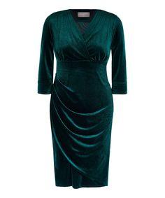 Dark Green Velvet Bombshell Tea Dress - 10