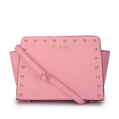 Michael Kors Outlet !Michael Kors Selma Stud Messenger Medium Pink Crossbody Bags $66.99 ! Unbelievable !