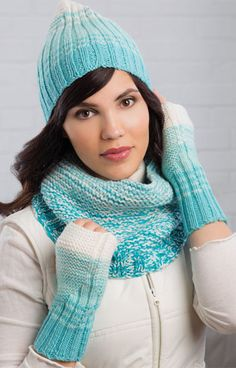 Reversible Rib Stripe Hat, Cowl & Mitts Knit Pattern ~ intermediate level ~ unique combo of garter stitch and rib makes it reverisible so you have two looks in one ~ instr. for dyeing with Kool-aid incl. Mens Scarf Knitting Pattern, Mittens Pattern, Knit Mittens, Knitting Socks, Knitted Hats, Knitting Patterns, Fingerless Mittens, Knit Crochet, Crochet Hats