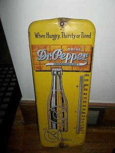 "1940's Vintage Dr Pepper Soda Pop 26"" Metal Thermometer Sign"