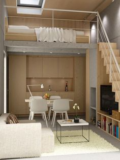 Pin by kat mirus on tiny house ideas in 2019 small loft, loft house, ti Loft Interior Design, Loft Design, Tiny House Design, Design Case, Interior Ideas, Modern Interior, Cafe Interior, Interior Styling, Design Design