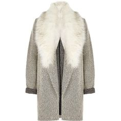 River Island Black and white faux fur trim jersey jacket (€105) ❤ liked on Polyvore featuring outerwear, jackets, black, coats / jackets, women, jersey jacket, long sleeve jersey, black and white jersey, black white jacket and tall jackets