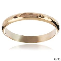 Journee Collection Highly Polished Sterling Silver Handcrafted Hammered Band (Gold- 7), Women's, Yellow