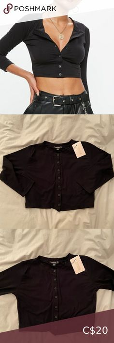 Missguided NWT Black Crop Cardigan Size 8 Button up black tee cardigan Size 8 but fits pretty small NWT Missguided Tops Tees - Long Sleeve Pink Mesh Top, Long Sleeve Tops, Long Sleeve Shirts, Missguided Tops, V Neck Bodysuit, Cropped Cardigan, Plus Fashion, Fashion Trends, Button