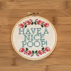 ~*~ This is for a PDF pattern of the cross stitch above only ~*~  Want to tell your family and guests what you expect them to do in the washroom? Let them know they should have a nice poop with this funny cross stitch wall hanging. The pattern includes a key for the DMC thread, instructions, and grid with colours and symbols.  Details:  - Recommended for aida cloth, 14 count  - Size of the stitched area is 2.93 x 3.71 inches  - Recommended for 4 inch hoop frame  - This particular design…