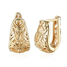 Dainty Gold Filigree Wide Small Hoop Earrings For Womens Oval Hollowed-out Fashion Texture Hoops Hypoallergenic Material: Stainless steel with high quality gold plated. Unique Gold Plated hoop earrings for women Filigree Earrings, Gold Filigree, Vintage Earrings, Clip On Earrings, Women's Earrings, 18k Gold, Filigree Design, Cartilage Earrings, Pendant Earrings