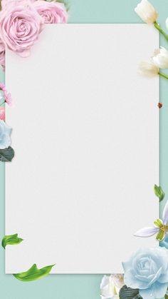 Flowers border background in 2019 Flower Background Wallpaper, Flower Backgrounds, Wallpaper Backgrounds, Iphone Wallpaper, Background Images Wallpapers, Wedding Invitation Background, Floral Border, Pop Up Cards, Grafik Design