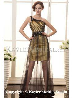 Satin and Grenadine One-Shoulder Floor Length A-Line Cocktail Dress with Sequins