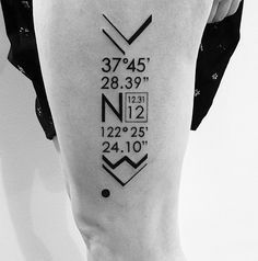 I love the meaning of this tattoo.  The date and coordinates of where she first met her man.  Artist: Ben Vold, 2Spirit Tattoo, San Francisco, CA.