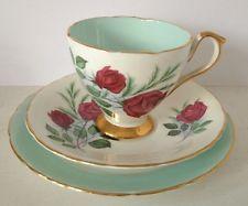 Pretty Vintage DELPHINE Fine Bone China Trio Tea Cup Saucer Plate-turquoise Rose