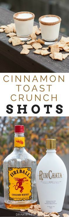 Who knew Fireball and RumChata would be such an awesome combo? Put the two together to create a shot that tastes just like Cinnamon Toast Crunch! Rim the glasses with cinnamon and sugar and you're sure to have a treat all your guests will love. #Rumchata