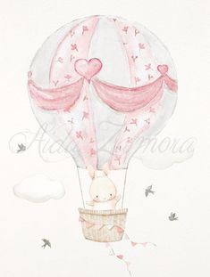 Arts And Crafts House Refferal: 3350115069 Bunny Nursery, Nursery Art, Air Balloon, Balloons, Images Disney, Baby Illustration, Illustrations, Art Impressions Stamps, Baby Painting