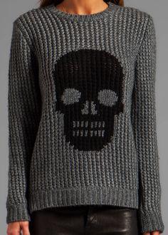 Autumn Cashmere - Handknit Skull Crew Sweater