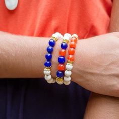 Orange You Blue Arm Candy Triple bracelet to shout your team spirit!