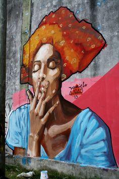 The Real Art of Street Art- Mariela Ajras / Argentina / 2013 *complimentary colors ♡) Murals Street Art, Graffiti Art, Mural Art, Urban Street Art, 3d Street Art, Street Artists, Yarn Bombing, African American Art, African Art