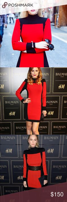 Balmain H&M Red Black size 8 Dress Thick high quality dress. Limited edition. Fitted, flattering and elegant. Size 8Us. Balmain Dresses