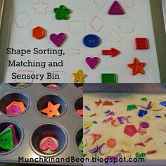 Munchkin and Bean: Shape Sorting, Matching and Sensory Bin