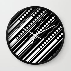 Dashes & Dots - White on Black Wall Clock by laec | Society6 Dash And Dot, Hanging Signs, Hand Coloring, Clocks, Cool Designs, Dots, Wall Decor, Cool Stuff, Creative