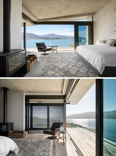 In this modern master bedroom suite,architectural materials such as concrete and granite have been used, while the bedroom is positioned to haveelevated views across the lagoon and to the mountains beyond. #MasterBedroom #Fireplace #ModernBedroom