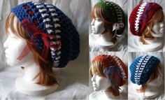 Sailor Moon inspired hand-crochet slouchy hatsbyWoolen Diversions. This would be easy to do as a knit. Cute concept.