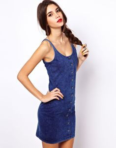 ASOS Denim Button Through Mini Dress. Thumbs up.