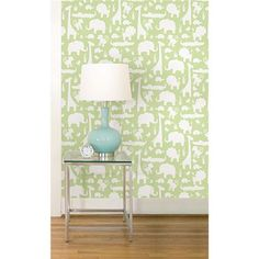 A perfect nursery decor theme, this jungle peel and stick wallpaper in green is just darling! - Green Its A Jungle In Here NuWallpaper