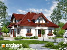 Dom w jeżówkach 3 Modern Bungalow House, Bungalow House Plans, Triangle House, French Country House Plans, Home Design Floor Plans, Sims House, Natural Home Decor, Home Fashion, Beautiful Homes