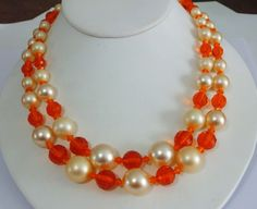 Vintage Faux Pearl and Orange Plastic Double Strand Necklace