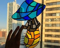 Made with care and detail by studied stained glass artist. This sun catcher consist 41 bits of color glass. Stained Glass Art, Stained Glass Windows, Glass Mushrooms, Mushroom Art, Window Hanging, Sun Catcher, Handmade Art, Feng Shui, Stuffed Mushrooms