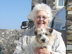 """Auntie Joan with Dodger, called """"Buddy"""" on the show. He's a real charmer!"""