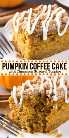 Pumpkin Coffee Cake Pumpkin, spice & everything nice come together in this easy Pumpkin Coffee Cake with streusel topping. Made with sour cream so it's super moist – it's perfect for dessert or breakfast for fall! Pecan Desserts, Fall Desserts, Dessert Recipes, Easy Pumpkin Desserts, Pumpkin Cake Recipes, Easy Fall Deserts, Easy Pumpkin Cake, Best Thanksgiving Desserts, Pumpkin Deserts