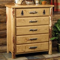 5 Drawer Western Dresser - Rustic Country Cabin Log Bedroom Furniture Decor #Country