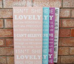 Baby Girl Subway Art Wood Sign  Isn't She Lovely, Choose your Own Color, by WallBling, $65.00