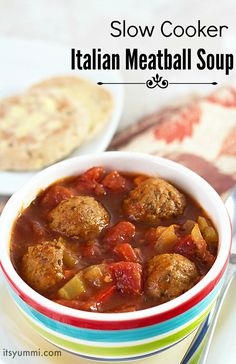 Slow Cooker Italian Meatball Soup recipe - This easy dinner is made in a crockpot. Get it started in the morning and come home to a comfort food dinner! via @itsyummi