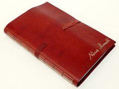 agenda 2013, encadernação artesanal, capa em recouro bordado