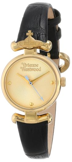 "Vivienne Westwood Women's VV090GDBK ""Maida"" Gold-Tone and Black Leather Watch"