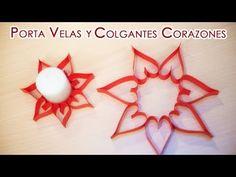 Porta Velas y Colgantes de Papel de Corazones -