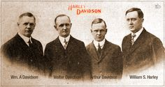 File:Founders of Harley-Davidson The North Shore Bulletin Dec - Wikipedia, the free encyclopedia Harley Davidson Trike, Vintage Harley Davidson, American Motorcycles, Custom Motorcycles, Harley Davidson Founders, Motorcycle Manufacturers, Cool Bikes, Fotografia, David Mann