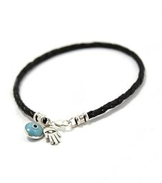 THE ESSENTIAL Hamsa Charm Bracelet for Women on Natural Black Leather  7 -- More info could be found at the image url.