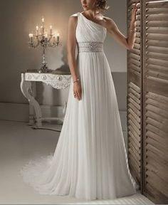 Open Back Vestidos De Novia White Long With Train Casamento Lace One Shoulder Wedding Dress