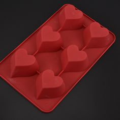 Silicone 6 hole heart Shapes Cake Mould chocolate Cake Pan #Affiliate