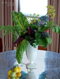 Vegetable flower arrangement. Lasts for dayssssss (unless someone eats it). Good for the extras from your garden. I love the Art of Doing Stuff!