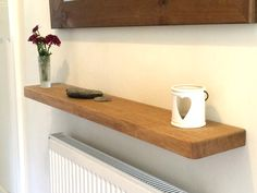 Solid Oak Floating Shelf Radiator Hall Kitchen Alcove Thick Wood, Free Fixings Thick, Natural Oil Finish with Optional Depth) Reclaimed Wood Floating Shelves, Floating Shelves Bedroom, Floating Shelves Kitchen, Rustic Floating Shelves, Kitchen Shelves, Cool Shelves, Picture Shelves, Picture Ledge, Radiator Shelf