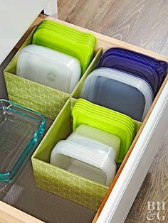 Organize food storage containers with matching lids in bins according to size/shape