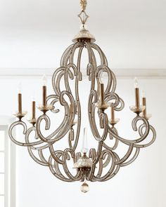 "John-Richard Collection ""Beaded Elegance"" Chandelier - Neiman Marcus - maybe in another life . or in some way far away master bedroom reno. Home Lighting, Chandelier Lighting, Lighting Design, Entryway Chandelier, Country Chandelier, Luxury Lighting, Lighting Ideas, Interior Exterior, Home Interior"